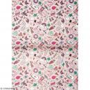 Papier décoratif à l'unité - Magical Summer - 30 x 42 cm - Icônes Rose - Photo n°1