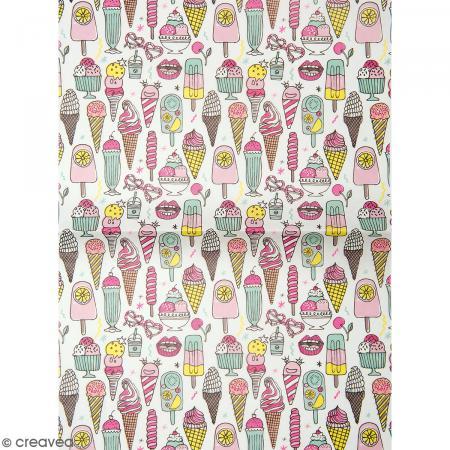 Papier décoratif à l'unité - Magical Summer - 30 x 42 cm - Glaces multicolores - Photo n°1