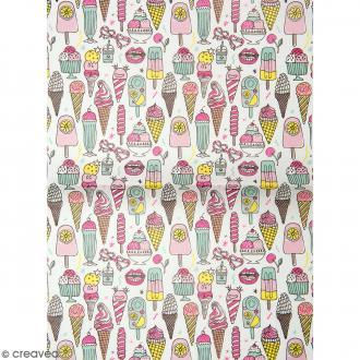 Papier décoratif à l'unité - Magical Summer - 30 x 42 cm - Glaces multicolores