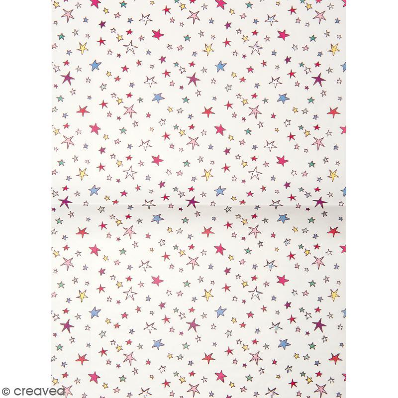 Papier décoratif à l'unité - Magical Summer - 30 x 42 cm - Étoiles multicolores - Photo n°1