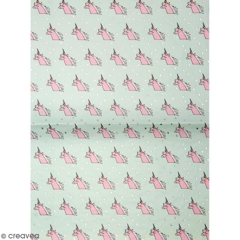 Papier décoratif à l'unité - Magical Summer - 30 x 42 cm - Licornes - Photo n°1