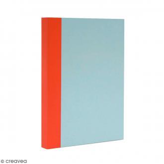Bloc note Color - Bullet Journal - Bleu ciel et orange - A6 - Feuilles Quadrillées