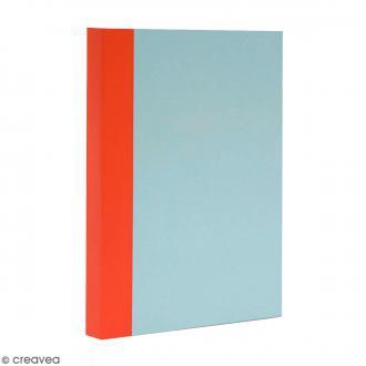 Bloc note Color - Bullet Journal - Bleu ciel et orange - A5 - Feuilles Quadrillées