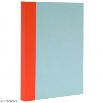 Bloc note Color - Bullet Journal - Bleu ciel et orange - XL - Feuilles Quadrillées