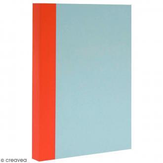 Bloc note Color - Bullet Journal - Bleu ciel et orange - XL - Feuilles Blanches unies