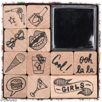 Set tampons Magical Summer - Girly  - 11 tampons et 1 encreur
