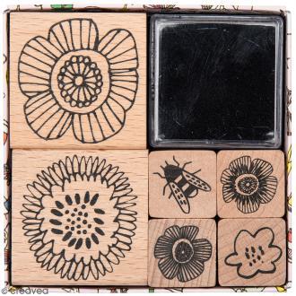 Set tampons Magical Summer - Fleurs - 6 tampons et 1 encreur