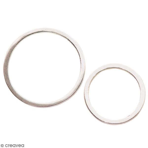 Lot de pendentifs breloques Cercles en métal - Argenté - 2 pcs - Photo n°1