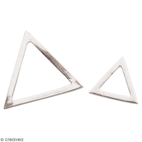 Lot de pendentifs breloques Triangles en métal - Argenté - 2 pcs - Photo n°1