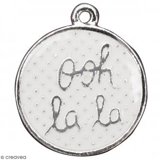 Pendentif breloque Cercle Ooh La La - Blanc et Argenté - 1 pce