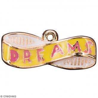 Pendentif breloque DREAMS - Jaune et Doré - 1 pce