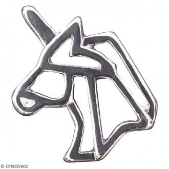 Pendentif breloque Origami - Licorne - Argenté - 1 pce