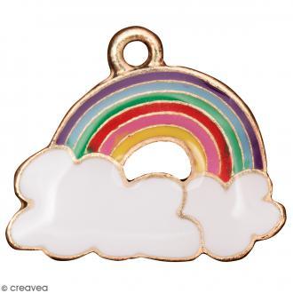 Pendentif breloque émaillé Arc-en-ciel - Multicolore - 1 pce