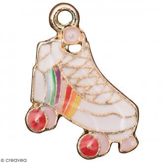 Pendentif breloque émaillé Patin à roulettes - Multicolore - 1 pce