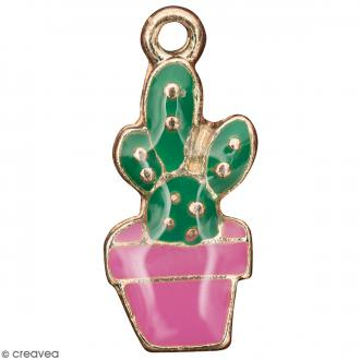 Pendentif breloque émaillé Cactus - Vert et Rose - 1 pce
