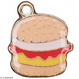 Pendentif breloque émaillé Hamburger - Beige - 1 pce