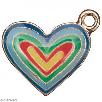Pendentif breloque émaillé Coeur - Multicolore - 1 pce