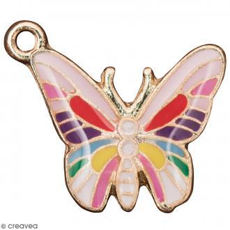 Pendentif breloque émaillé Papillon - Multicolore - 1 pce