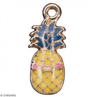 Pendentif breloque émaillé Ananas - Jaune et Bleu - 1 pce