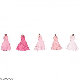 Set de pendentifs breloques pompons glands - Candy Rose - 5 pcs