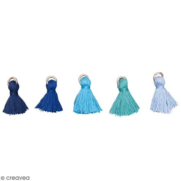 Set de pendentifs breloques pompons glands - Bleu Aqua - 5 pcs - Photo n°1