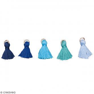Set de pendentifs breloques pompons glands - Bleu Aqua - 5 pcs