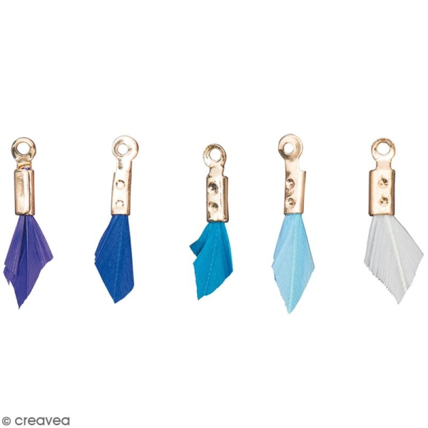 Set de pendentifs breloques plumes - Bleu Aqua - 5 pcs - Photo n°1