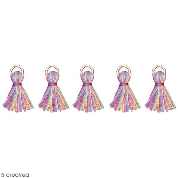 Set de pendentifs breloques pompons glands - Multicolore - 5 pcs - Photo n°1