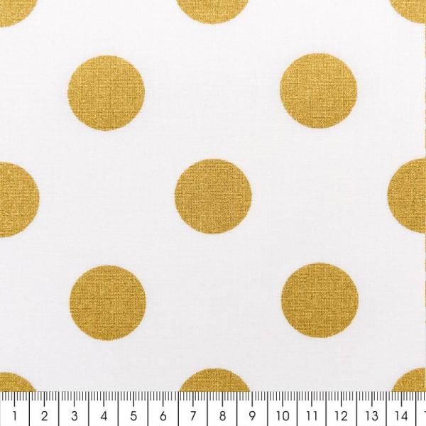 Tissu Rico - Toile de Jouy - Gros Pois Dorés - fond Blanc - Par 10 cm (sur mesure) - Photo n°2