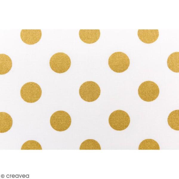 Tissu Rico - Toile de Jouy - Gros Pois Dorés - fond Blanc - Par 10 cm (sur mesure) - Photo n°3