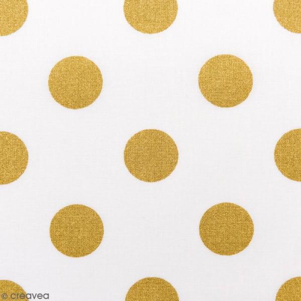 Tissu Rico - Toile de Jouy - Gros Pois Dorés - fond Blanc - Par 10 cm (sur mesure) - Photo n°1