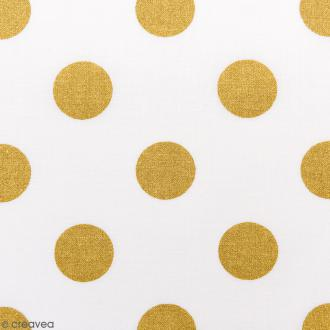 Tissu Rico - Toile de Jouy - Gros Pois Dorés - fond Blanc - Par 10 cm (sur mesure)