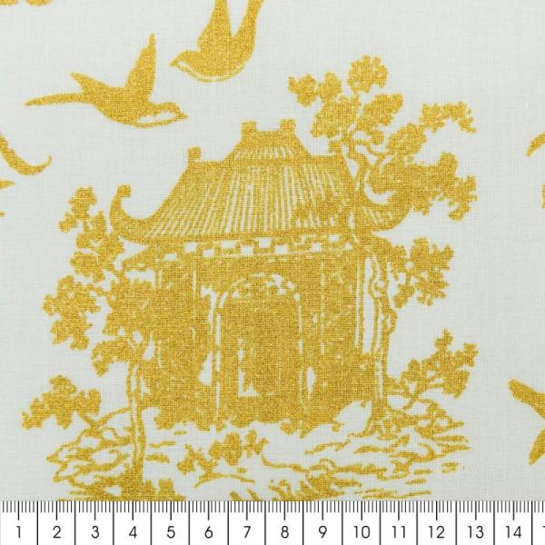Tissu Rico - Toile de Jouy - Maisons Japonaises Dorées - fond Menthe - Par 10 cm (sur mesure) - Photo n°2
