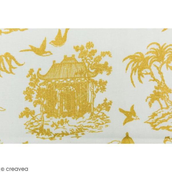 Tissu Rico - Toile de Jouy - Maisons Japonaises Dorées - fond Menthe - Par 10 cm (sur mesure) - Photo n°3
