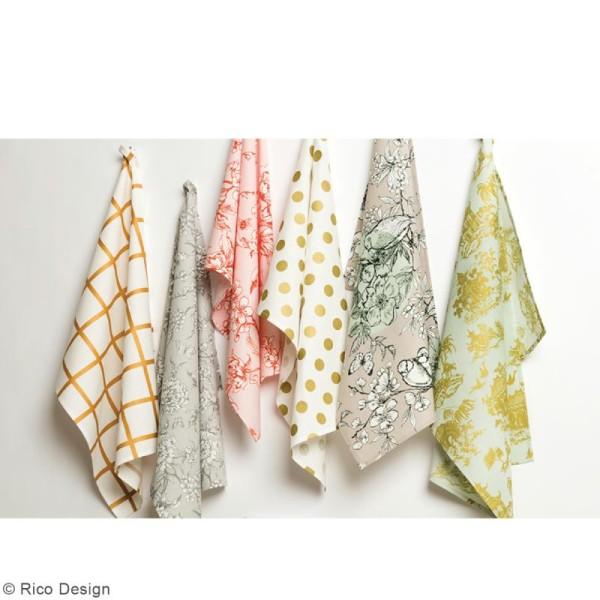Tissu Rico - Toile de Jouy - Maisons Japonaises Dorées - fond Menthe - Par 10 cm (sur mesure) - Photo n°4