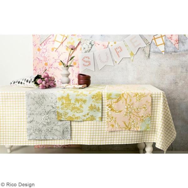 Tissu Rico - Toile de Jouy - Maisons Japonaises Dorées - fond Menthe - Par 10 cm (sur mesure) - Photo n°5
