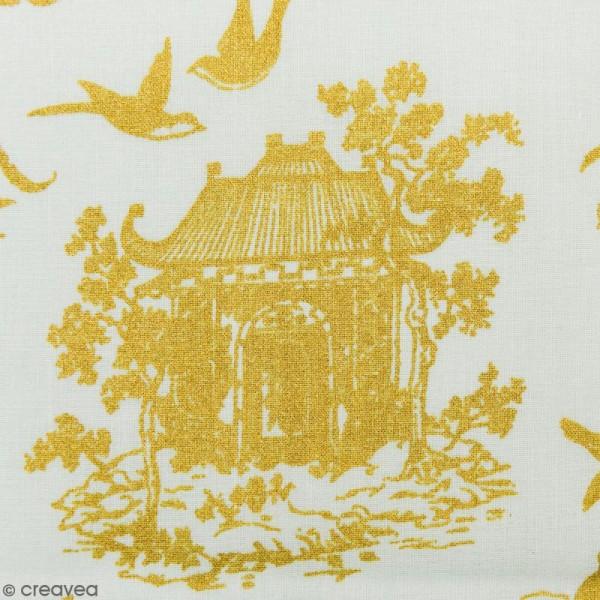 Tissu Rico - Toile de Jouy - Maisons Japonaises Dorées - fond Menthe - Par 10 cm (sur mesure) - Photo n°1