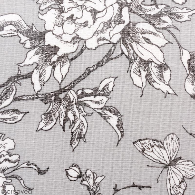 tissu rico toile de jouy fleurs de cerisier blanches fond gris par 10 cm sur mesure. Black Bedroom Furniture Sets. Home Design Ideas