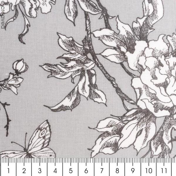 Tissu Rico - Toile de Jouy - Fleurs de Cerisier Blanches - fond Gris - Par 10 cm (sur mesure) - Photo n°2