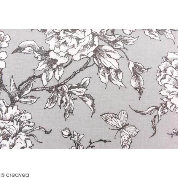 Tissu Rico - Toile de Jouy - Fleurs de Cerisier Blanches - fond Gris - Par 10 cm (sur mesure) - Photo n°3