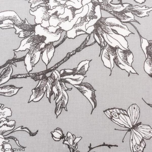 Tissu Rico - Toile de Jouy - Fleurs de Cerisier Blanches - fond Gris - Par 10 cm (sur mesure) - Photo n°1