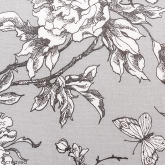 Tissu Rico - Toile de Jouy - Fleurs de Cerisier Blanches - fond Gris - Par 10 cm (sur mesure)