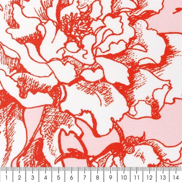 Tissu Rico - Toile de Jouy - Fleurs de Cerisier Oranges - fond Poudré - Par 10 cm (sur mesure) - Photo n°2