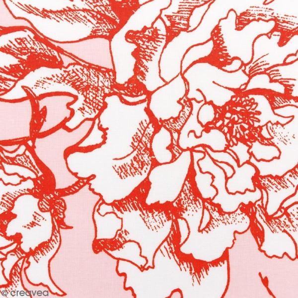 Tissu Rico - Toile de Jouy - Fleurs de Cerisier Oranges - fond Poudré - Par 10 cm (sur mesure) - Photo n°1