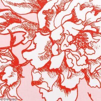 Tissu Rico - Toile de Jouy - Fleurs de Cerisier Oranges - fond Poudré - Par 10 cm (sur mesure)