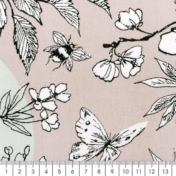 Tissu Rico Design - Toile de Jouy - Oiseau - fond Gris et Menthe - Par 10 cm (sur mesure) - Photo n°2