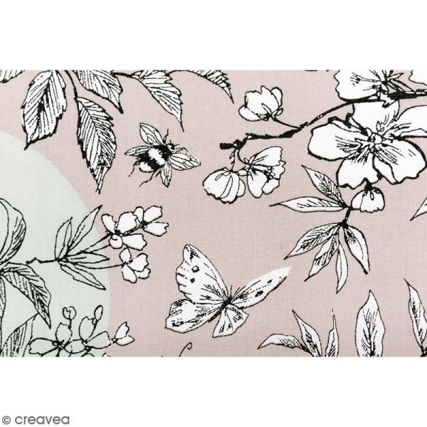 Tissu Rico Design - Toile de Jouy - Oiseau - fond Gris et Menthe - Par 10 cm (sur mesure) - Photo n°3