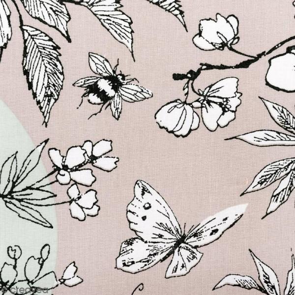 Tissu Rico Design - Toile de Jouy - Oiseau - fond Gris et Menthe - Par 10 cm (sur mesure) - Photo n°1