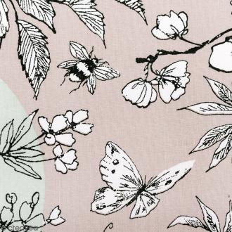 Tissu Rico Design - Toile de Jouy - Oiseau - fond Gris et Menthe - Par 10 cm (sur mesure)