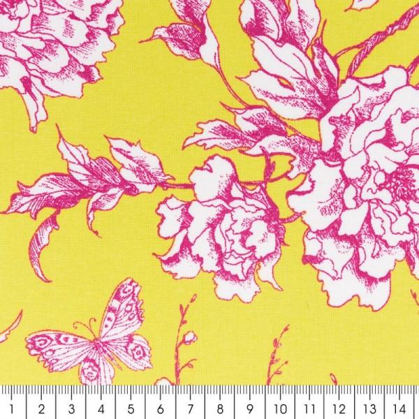Tissu Rico - Toile de Jouy - Fleurs de Cerisier Roses - fond Jaune - Par 10 cm (sur mesure) - Photo n°2